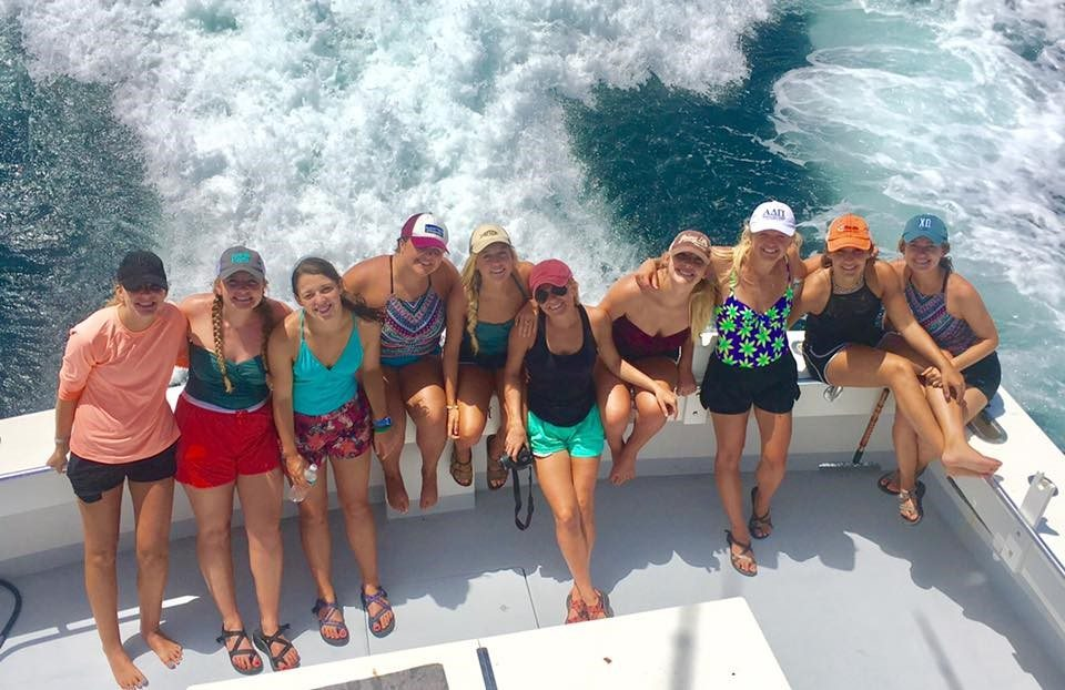 girls fishing trip on the charter boat 100 Proof in Destin, FL