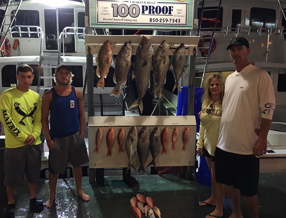 The Meyers fishing aboard the 100 Proof in Destin, FL