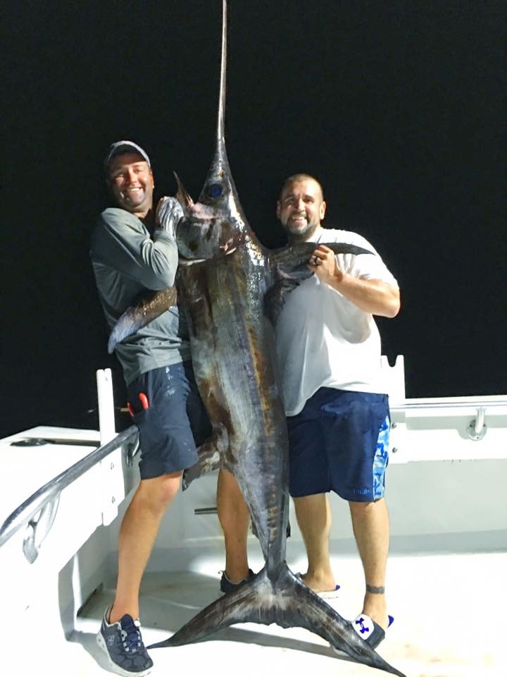 Swordfish caught on an overnight trip on the charter boat 100 Proof